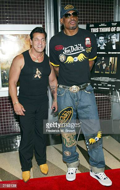 Actor Chuck Zito and former NBA basketball player Dennis Rodman attend the film premiere of This Thing Of Ours at the Laemmle's Fairfax theater on...