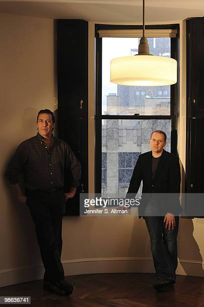 Actor Ciaran Hinds and screenwriter Conor McPherson pose at a portrait session for the Los Angeles Times in New York NY on February 25 2010
