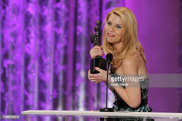 Actor Claire Danes winner of Outstanding Performance by a Female Actor in a Television Movie or Miniseries award for Temple Grandin speaks onstage...