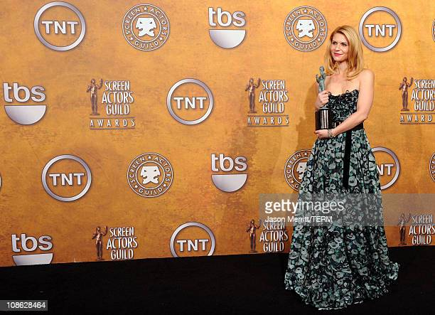 Actor Claire Danes winner of Outstanding Performance by a Female Actor in a Television Movie or Miniseries award for Temple Grandin poses in the...