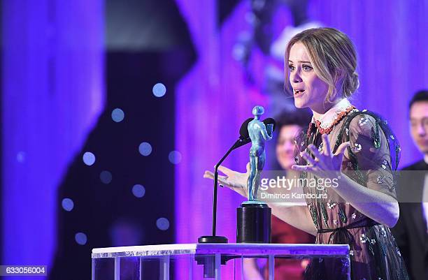 Actor Claire Foy accepts the award for 'A Female Actor in a Drama Series' onstage during The 23rd Annual Screen Actors Guild Awards at The Shrine...