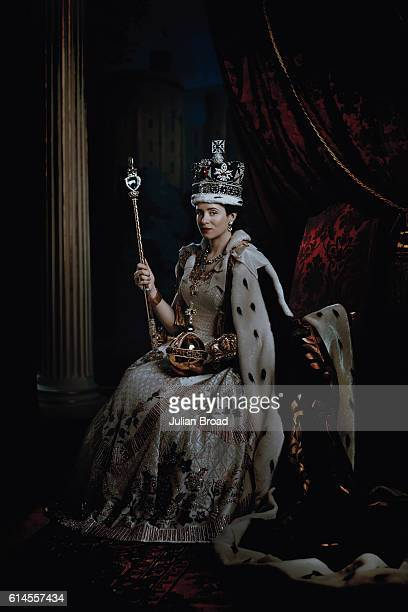 Actor Claire Foy as Queen Elizabeth II from the series Crown is photographed for Vanity Fair on February 16 2016 in Borehamwood England