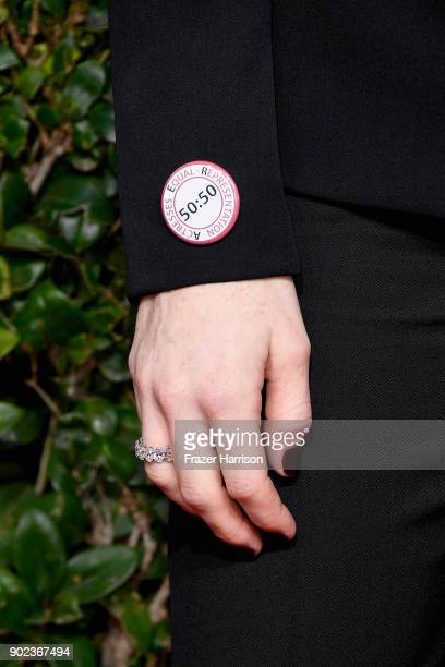 Actor Claire Foy fashion detail attends The 75th Annual Golden Globe Awards at The Beverly Hilton Hotel on January 7 2018 in Beverly Hills California