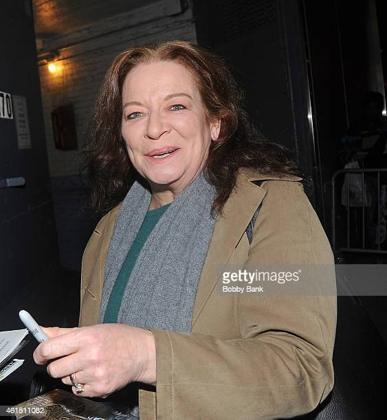 Actor Clare Higgins exits the stage doors of 'A Delicate Balance' outside the Golden Theatre on January 13 2015 in New York City