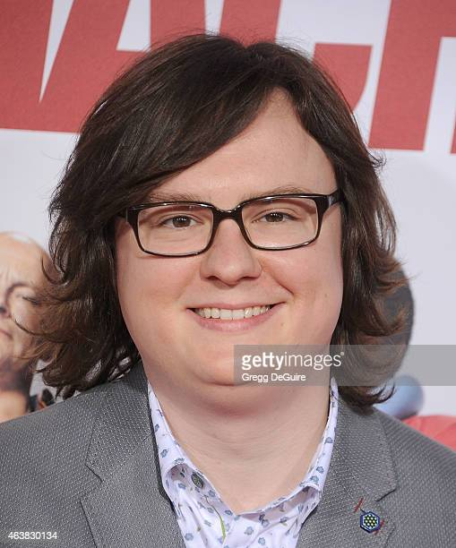 Actor Clark Duke arrives at the Los Angeles premiere of Hot Tub Time Machine 2 at Regency Village Theatre on February 18 2015 in Westwood California
