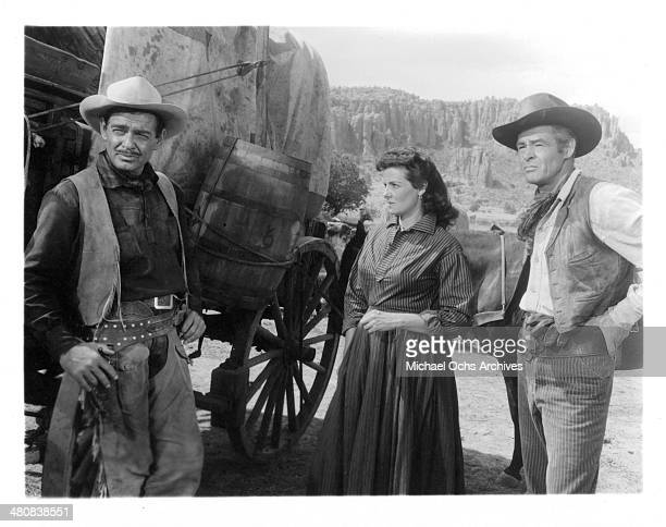 Actor Clark Gable actress Jane Russell and actor Robert Ryan in a scene from the 20th Century Fox movie 'The Tall Men' circa 1955