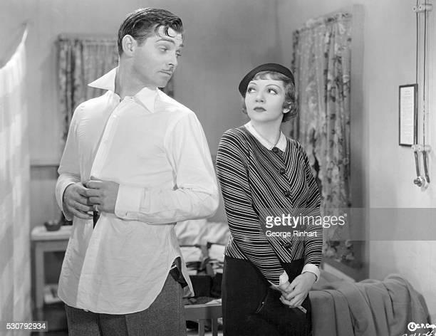 Actor Clark Gable and actress Claudette Colbert in a scene from Columbia Pictures' 1934 film It Happened One Night directed by Frank Capra