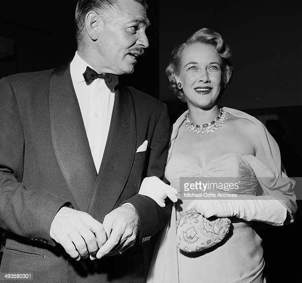 Actor Clark Gable and wife Kay Spreckels at a party at the Hilton Hotel in Los Angeles, California.