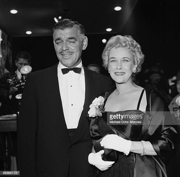 LOS ANGELES CIRCA 1957 Actor Clark Gable and wife Kay Spreckels at the premier in Los Angeles California