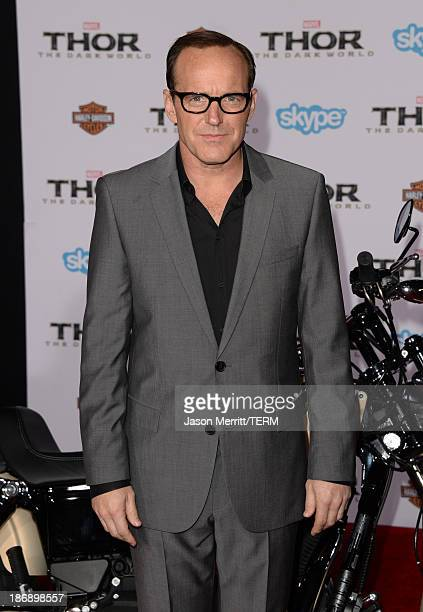 Actor Clark Gregg arrives at the premiere of Marvel's Thor The Dark World at the El Capitan Theatre on November 4 2013 in Hollywood California