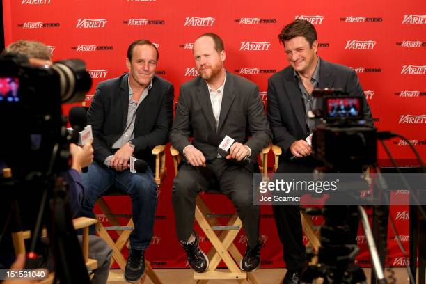 Actor Clark Gregg, Director Joss Whedon and Actor Nathan Fillion at Variety Studio presented by Moroccanoil on Day 1 at Holt Renfrew, Toronto during...