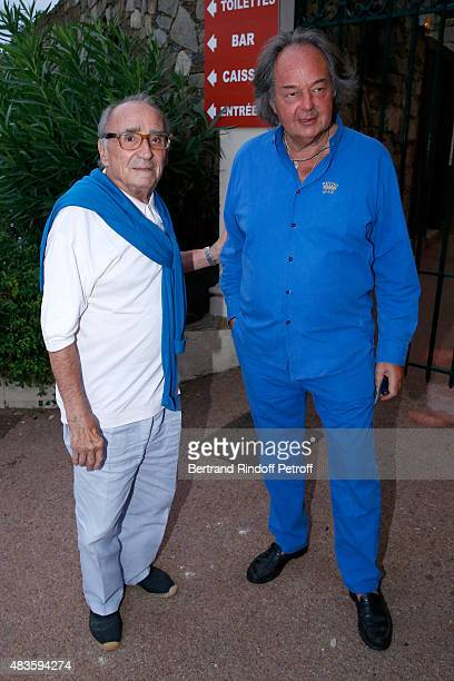 Actor Claude Brasseur and Gonzague Saint-Bris attend the 'Fabrice Luchini - Poesie ?' show during the 31th Ramatuelle Festival : Day 10, on August...
