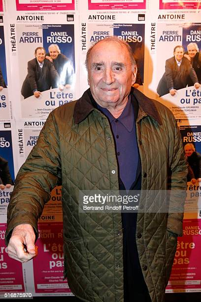 "Actor Claude Brasseur attends the ""L'Etre ou pas"" : Theater play at Theatre Antoine on March 21, 2016 in Paris, France."