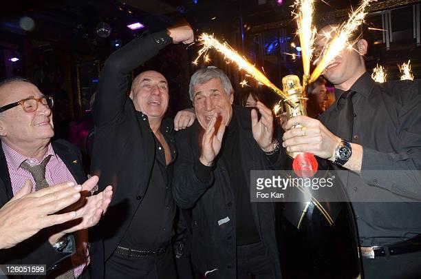 Actor Claude Brasseur Bruno Mangel from l'Aventure Club and Jean Pierre Castaldi attend the Bruno Mangel Birthday Party at l'Aventure Club on...