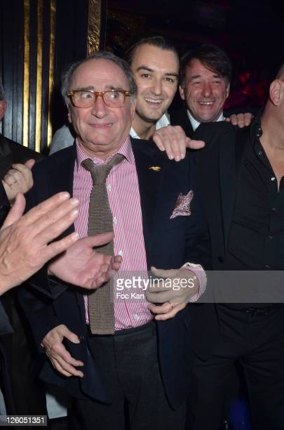 Actor Claude Brasseur, chef Cyril Lignac and a guest attend the Bruno Mangel Birthday Party at l'Aventure Club on December 13, 2010 in Paris, France.