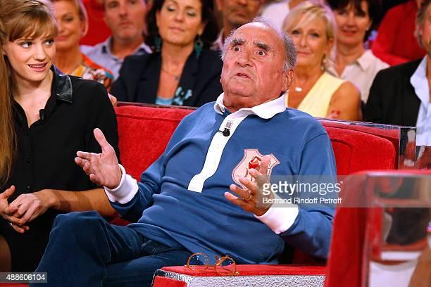Actor Claude Brasseur presents the movie L'etudiante et Monsieur Henri' during the 'Vivement Dimanche' French TV Show at Pavillon Gabriel on...