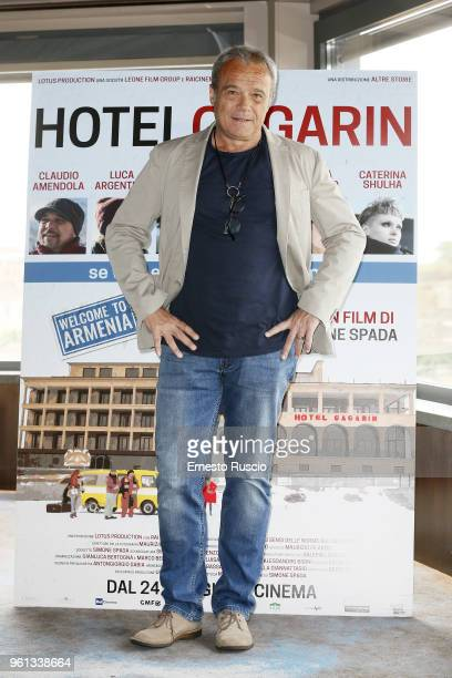 Actor Claudio Amendola attends a photocall for 'Hotel Gagarin' at Hotel Eden on May 22 2018 in Rome Italy