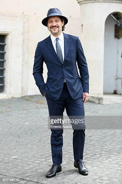 Actor Claudio Santamaria attends the 60 David Di Donatello nominees presentation at Palazzo del Quirinale on April 18 2016 in Rome Italy