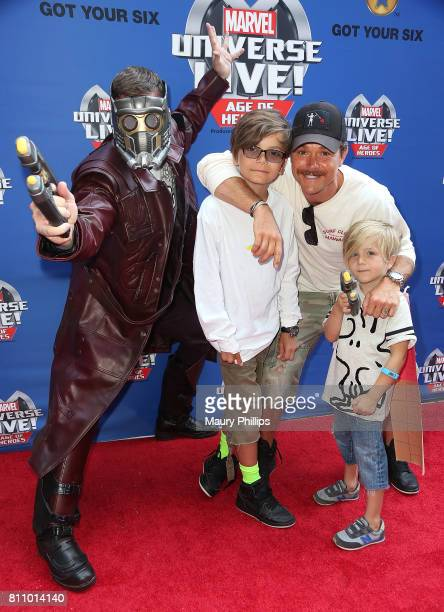 Actor Clayne Crawford and family attend Marvel Universe Live Age of Heroes world premiere at Staples Center on July 8 2017 in Los Angeles California
