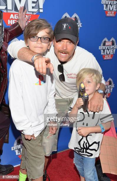 Actor Clayne Crawford and family attend the world premiere of Marvel Universe Live Age Of Heroes at Staples Center on July 8 2017 in Los Angeles...