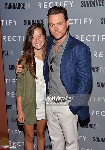 Actor Clayne Crawford and his daughter Abby arrive at the SundanceTV Series 'Rectify' Season 2 Premiere at the Sundance Sunset Cinema on June 16 2014...
