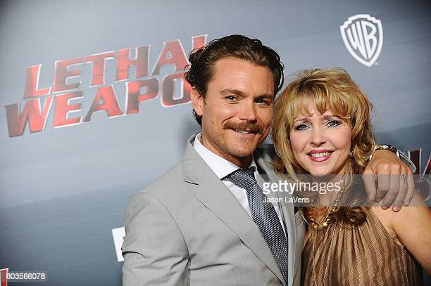 Actor Clayne Crawford and his mother attend the premiere of 'Lethal Weapon' at NeueHouse Hollywood on September 12 2016 in Los Angeles California