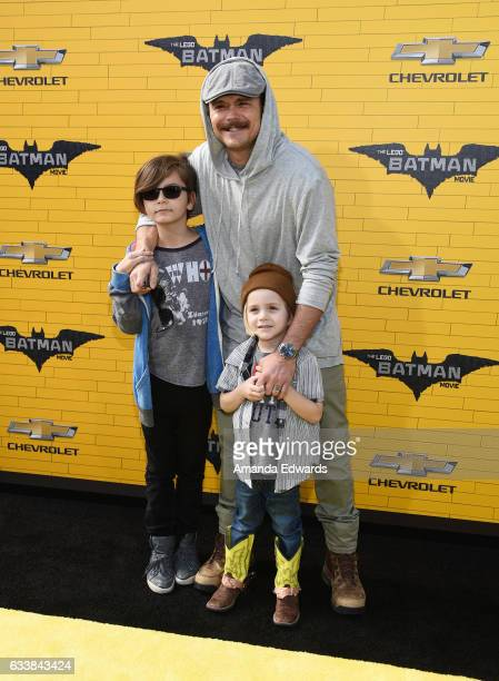 Actor Clayne Crawford and his sons arrive at the premiere of Warner Bros Pictures' 'The LEGO Batman Movie' at the Regency Village Theatre on February...