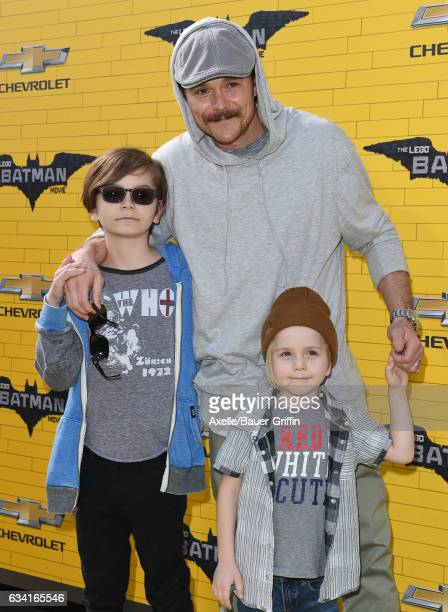 Actor Clayne Crawford and son Colt Crawford arrive at the premiere of Warner Bros Pictures' 'The LEGO Batman Movie' at Regency Village Theatre on...