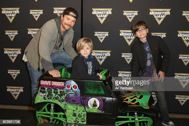 Actor Clayne Crawford and sons arrive at Angel Stadium on February 24 2018 in Anaheim California