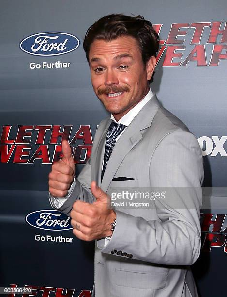 Actor Clayne Crawford attends the premiere of Fox Network's Lethal Weapon at NeueHouse Hollywood on September 12 2016 in Los Angeles California