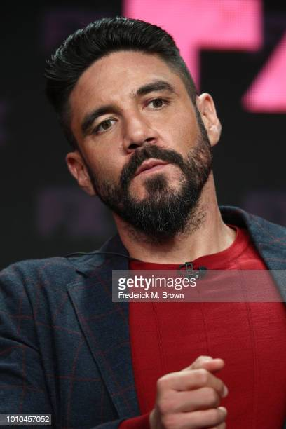 Actor Clayton Cardenas speaks onstage at the 'Mayans MC' panel during the FX Network portion of the Summer 2018 TCA Press Tour at The Beverly Hilton...