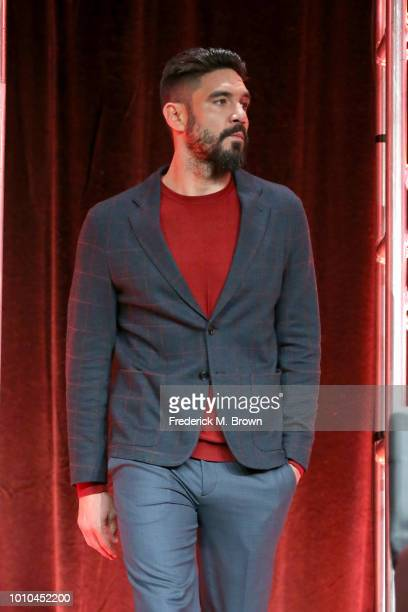 Actor Clayton Cardenas walks onstage at the 'Mayans MC' panel during the FX Network portion of the Summer 2018 TCA Press Tour at The Beverly Hilton...