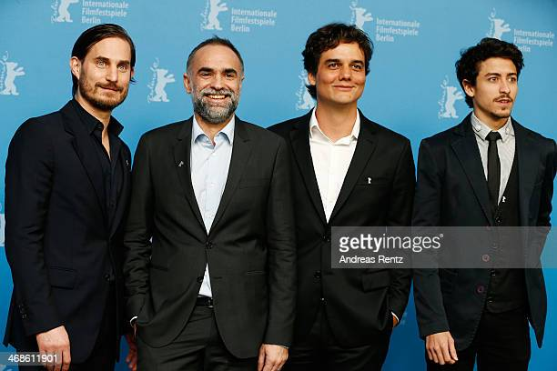 Actor Clemens Schick director Karim Ainouz actor Wagner Moura and actor Jesuita Barbosa attend the 'Praia do futuro' photocall during 64th Berlinale...