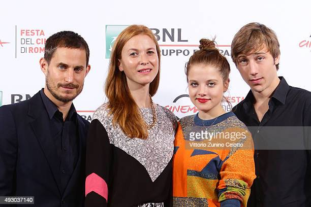 Actor Clemens Schick director Theresa von Eltz actors Jella Haase and Benjamin Seikel attend a photocall for 'Four Kings' during the 10th Rome Film...