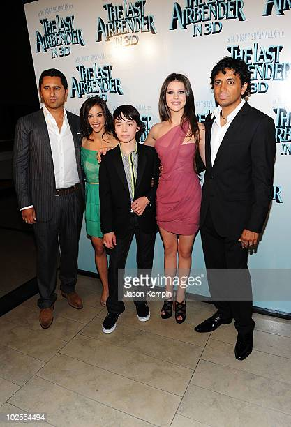 Actor Cliff Curtis actress Seychelle Gabriel actor Noah Ringer actress Nicola Peltz and writer/director M Night Shyamalan attend the premiere of The...