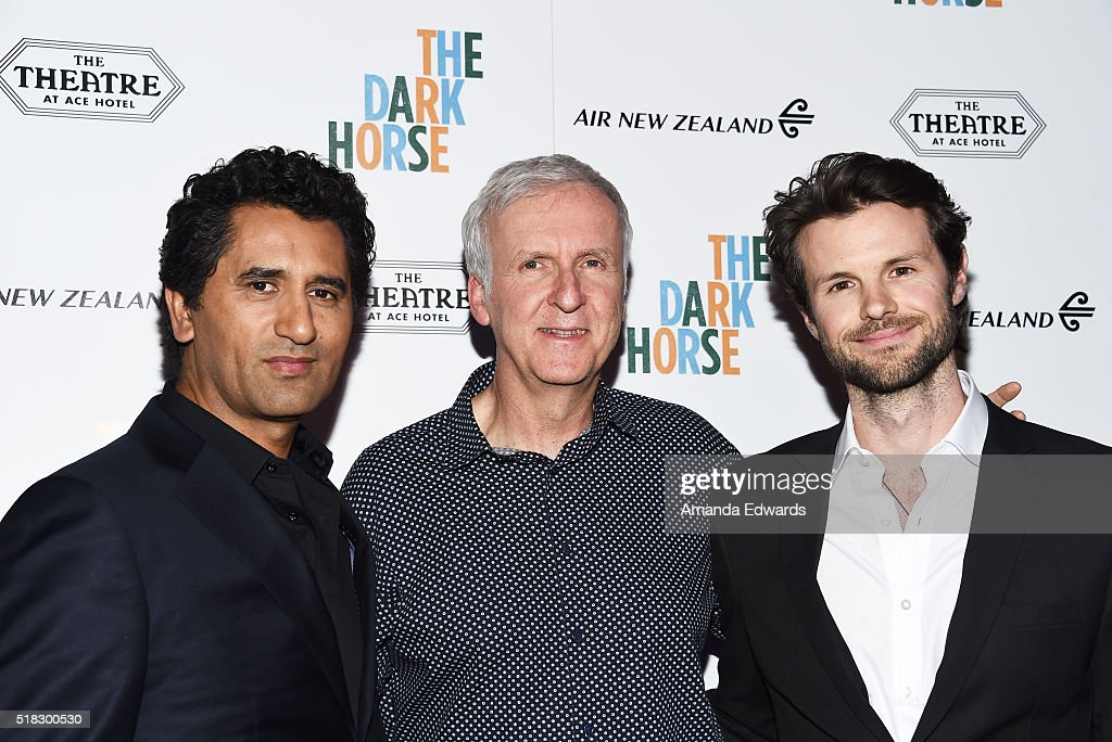 Actor Cliff Curtis and directors James Cameron and James Napier Robertson arrive at the premiere of Broad Green Pictures' 'The Dark Horse' at The Theatre at Ace Hotel on March 30, 2016 in Los Angeles, California.