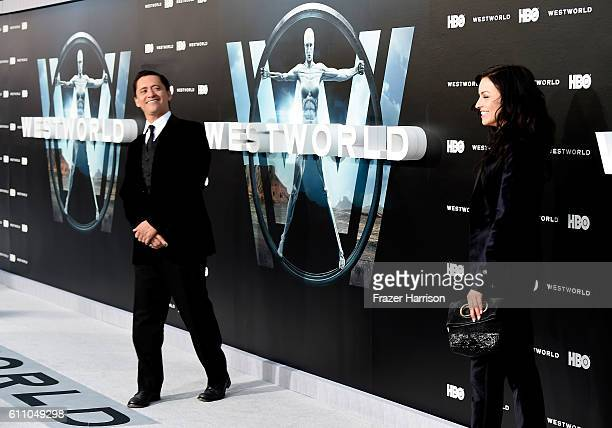 Actor Clifton Collins Jr and Francesca Eastwood arrive at the Premiere of HBO's 'Westworld' at TCL Chinese Theatre on September 28 2016 in Hollywood...