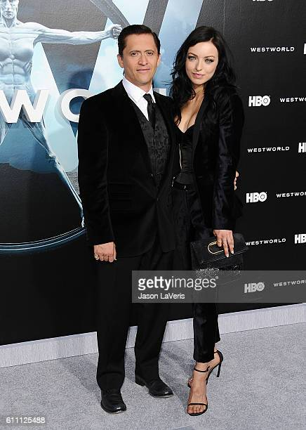 Actor Clifton Collins Jr and Francesca Eastwood attend the premiere of Westworld at TCL Chinese Theatre on September 28 2016 in Hollywood California