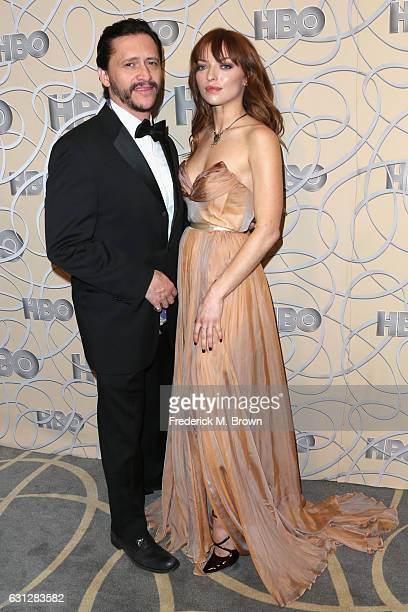 Actor Clifton Collins Jr and Francesca Eastwood attends HBO's Official Golden Globe Awards After Party at Circa 55 Restaurant on January 8 2017 in...