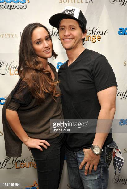 Actor Clifton Collins Jr and Megan Ozurovich attend the Access Hollywood Stuff You Must Lounge produced by On 3 Productions at the Sofitel Hotel on...