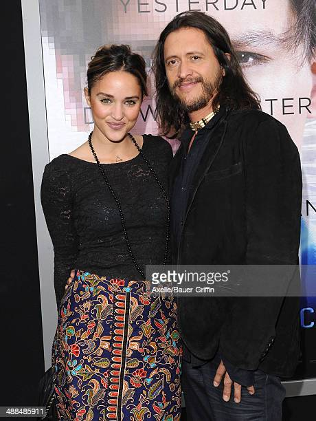 Actor Clifton Collins Jr and wife Megan Ozurovich arrive at the Los Angeles premiere of 'Transcendence' at Regency Village Theatre on April 10 2014...