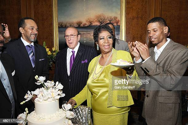 Actor Clifton Davis Clive Davis Aretha Franklin and son Kecalf Franklin attend Aretha Franklin's 72nd Birthday Celebration at The RitzCarlton Hotel...