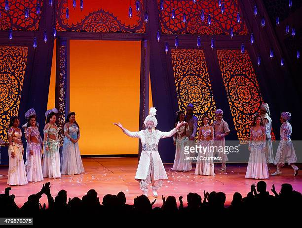 Actor Clifton Davis takes a bow during curtain call at the the Aladdin On Broadway Opening Night at New Amsterdam Theatre on March 20 2014 in New...