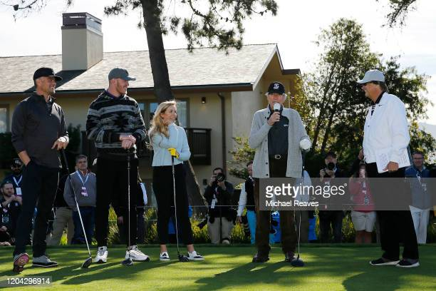 Actor Clint Eastwood addresses the crowd prior to the 3M Celebrity Challenge prior to the ATT Pebble Beach ProAm at Pebble Beach Golf Links on...