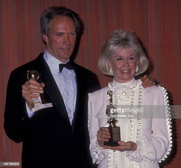Actor Clint Eastwood and actress Doris Day attend 46th Annual Golden Globe Awards on January 28 1989 at the Beverly Hilton Hotel in Beverly Hills...
