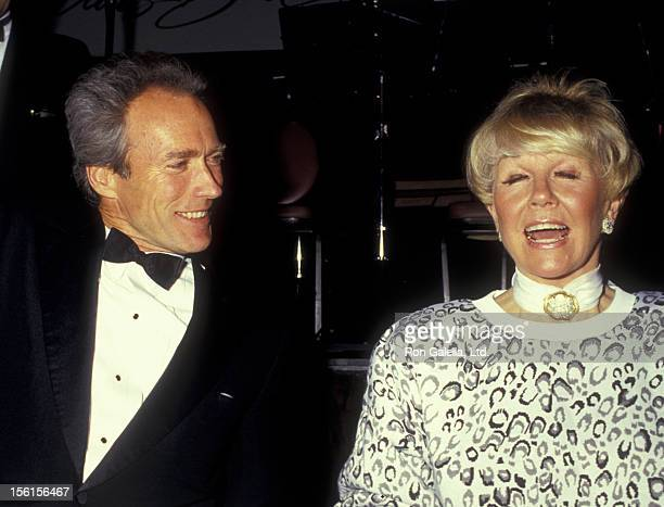 Actor Clint Eastwood and actress Doris Day attend Monteray Film Festival Gala on February 7 1987 at the Hyatt Regency Hotel in Monteray California