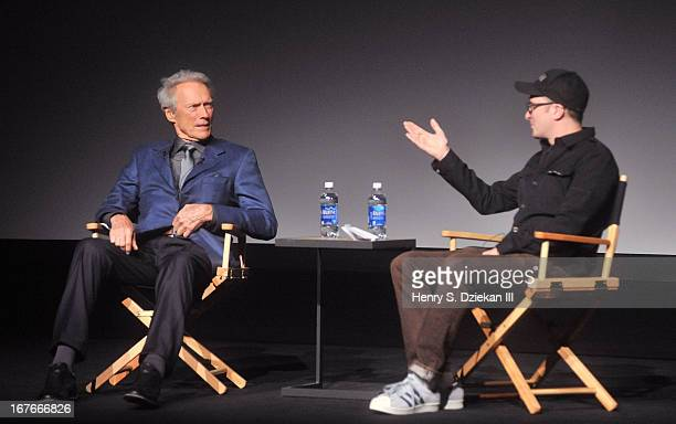 Actor Clint Eastwood and Darren Aronofsky attend the Tribeca Talks Director's Series during the 2013 Tribeca Film Festival at BMCC Tribeca PAC on...