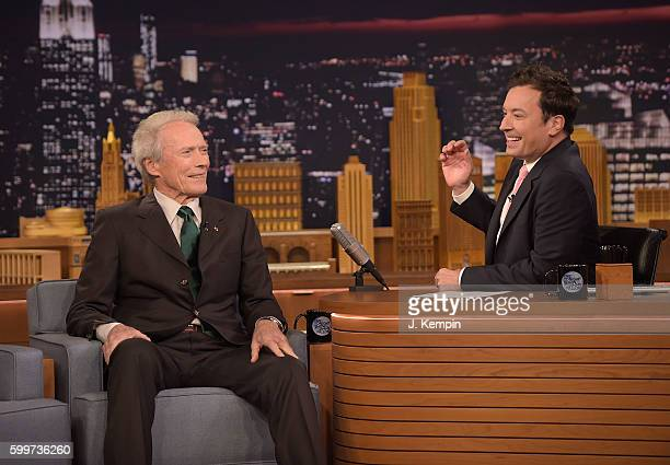Actor Clint Eastwood and host Jimmy Fallon attend 'The Tonight Show Starring Jimmy Fallon' at Rockefeller Center on September 6 2016 in New York City