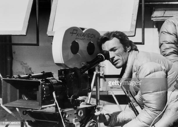 US actor Clint Eastwood gestures 11 September 1974 in an unlocated place in Germany while shooting his movie The Eiger Sanction Hollywood icon and...