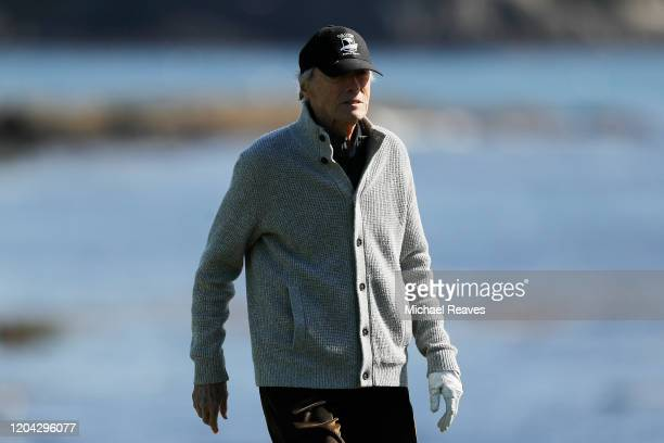 Actor Clint Eastwood looks on from the 18th hole during the 3M Celebrity Challenge prior to the AT&T Pebble Beach Pro-Am at Pebble Beach Golf Links...
